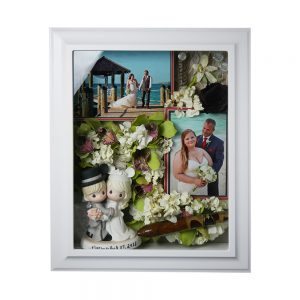 white framed wedding shadowbox wedding keepsake